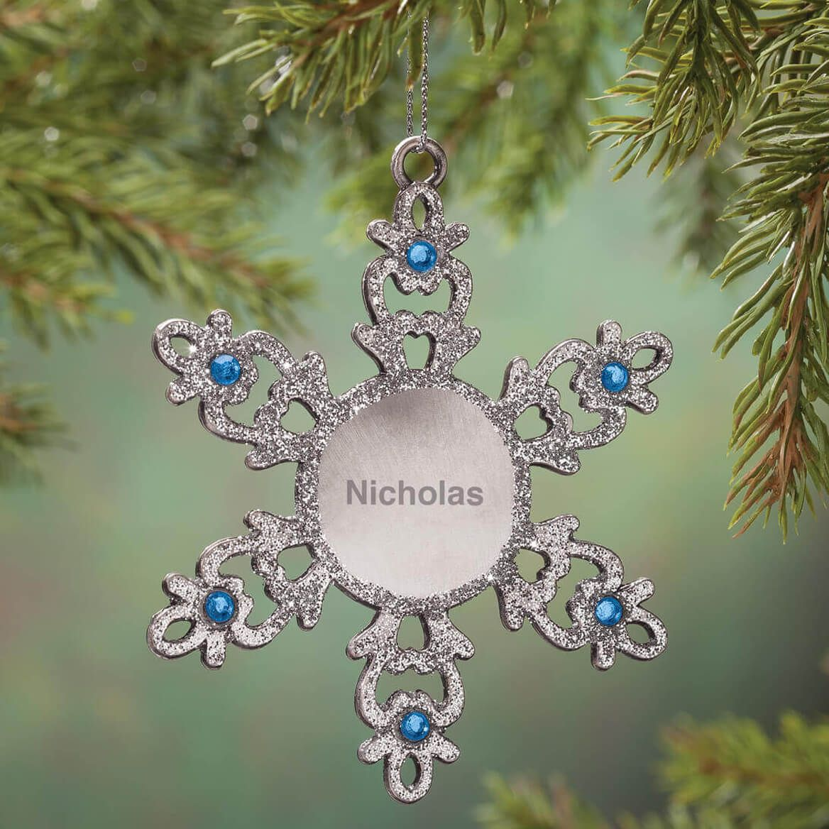 Personalized Birthstone Snowflake Pewter Ornament-360373