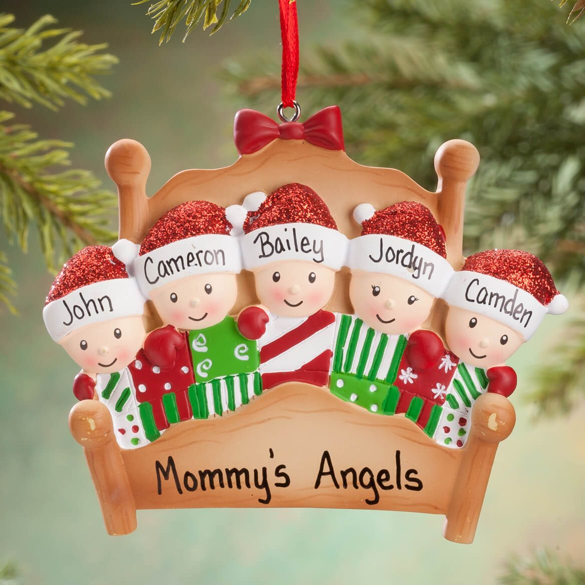 Personalized Family in Bed Ornament-360621