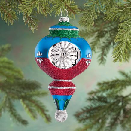 Personalized Retro Glittered Reflector Ornament-360666