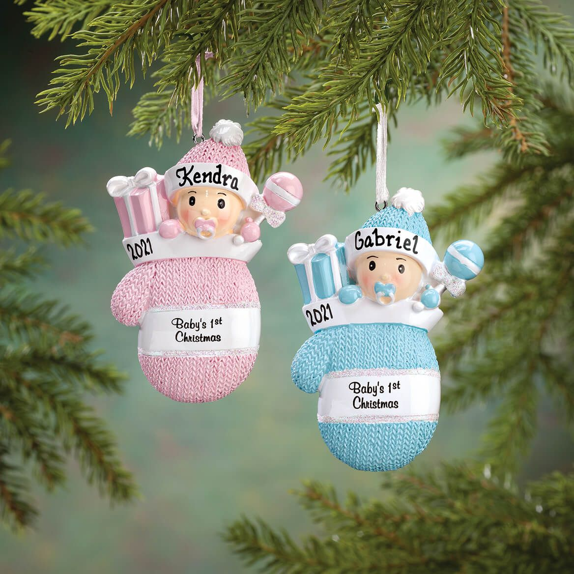 """Personalized """"Baby's 1st Christmas"""" Mitten Ornament-360903"""