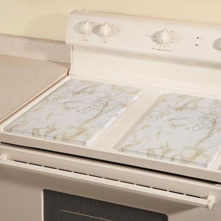 White Marble Burner Covers Set of 2-362361
