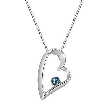 Sterling Silver Open Heart Birthstone Pendant-362417