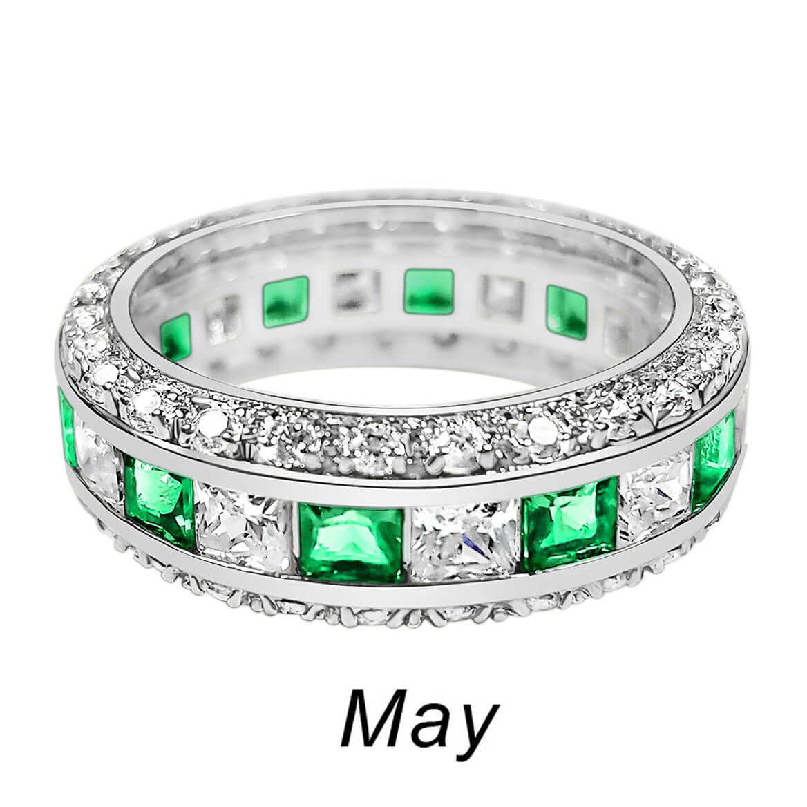 Birthstone and CZ Sterling Silver Ring-362419