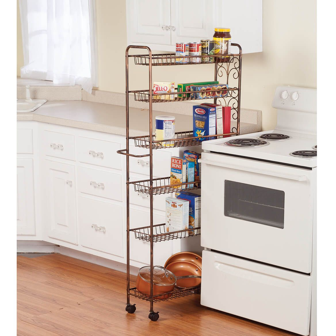 Rolling Antique Wire Slim Storage Cart by Home Marketplace-362490