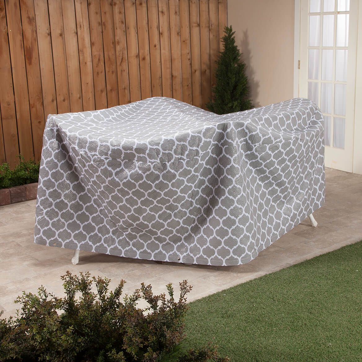 """Trellis Pattern Quilted Table Cover Round, 30""""H x 84"""" Dia.-362886"""