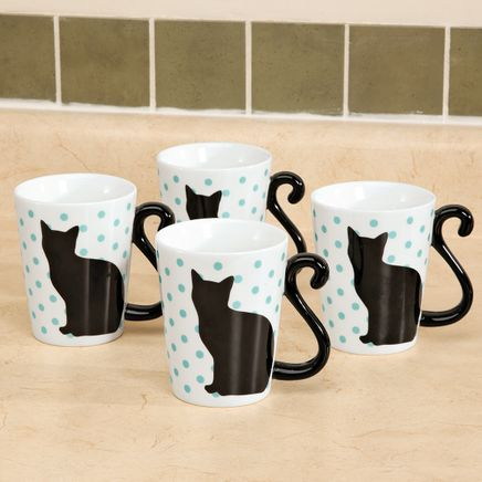Cat Tail Mugs by Home-Style Kitchen, Set of 4-363393