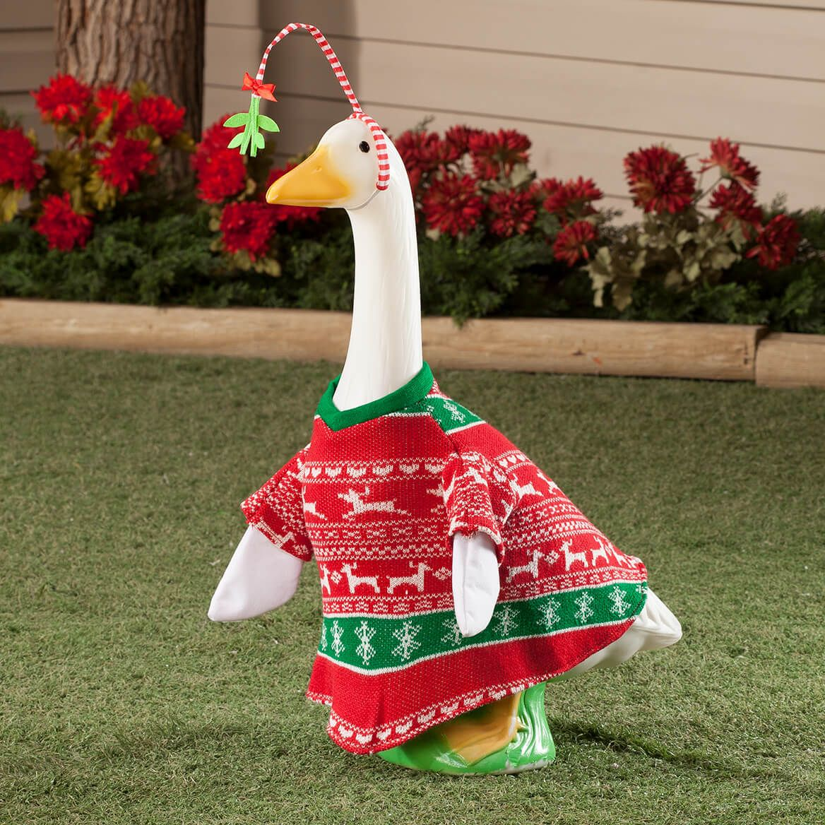 Red and Green Sweater Goose Outfit with Mistletoe-363611