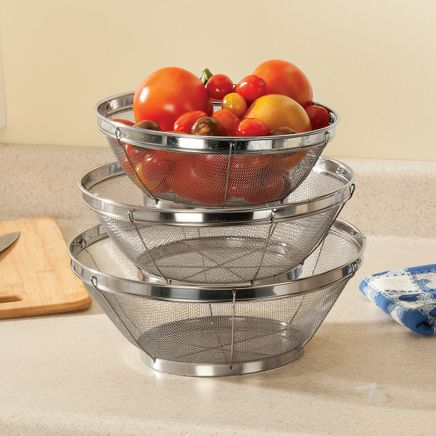 Stainless Steel Mesh Colander, Set of 3 by Home Marketplace-363793