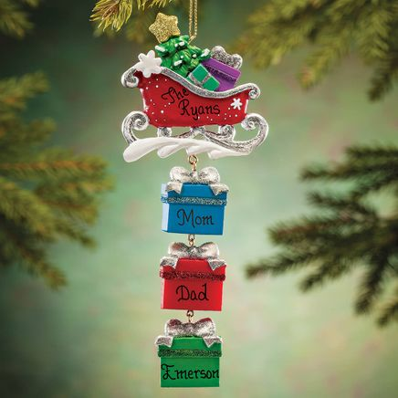 Personalized Sleigh and Gifts Dangle Ornament-364392
