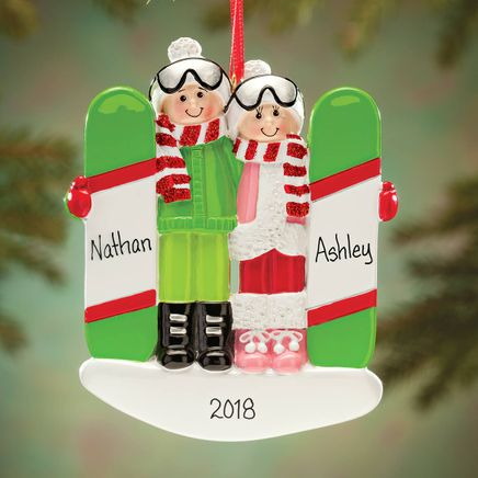 Personalized Snowboarding Couple Ornament-364420