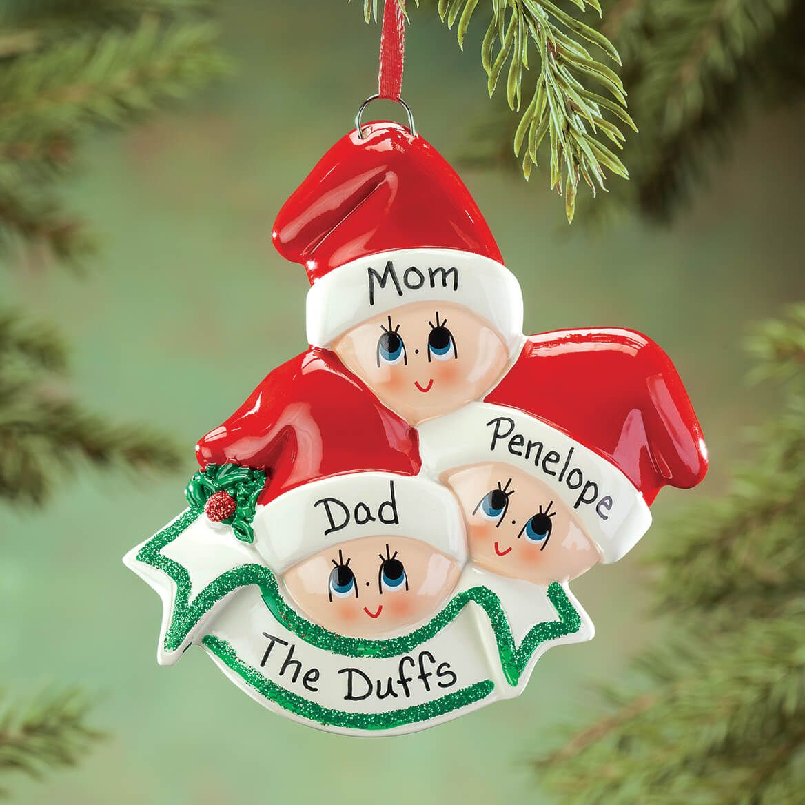 Personalized Family in Stocking Caps Ornament-364863