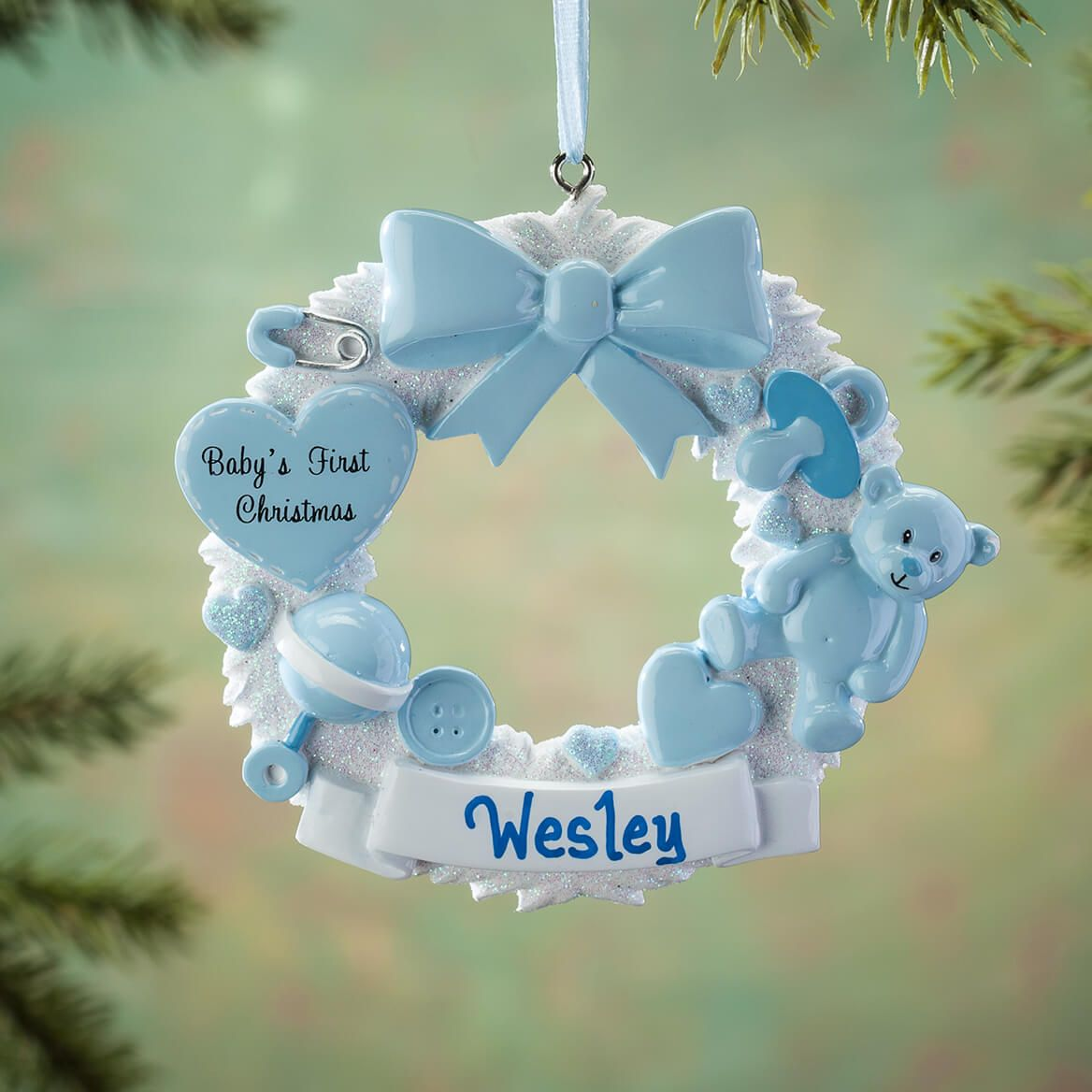 Personalized Baby's First Christmas Wreath Ornament-364882