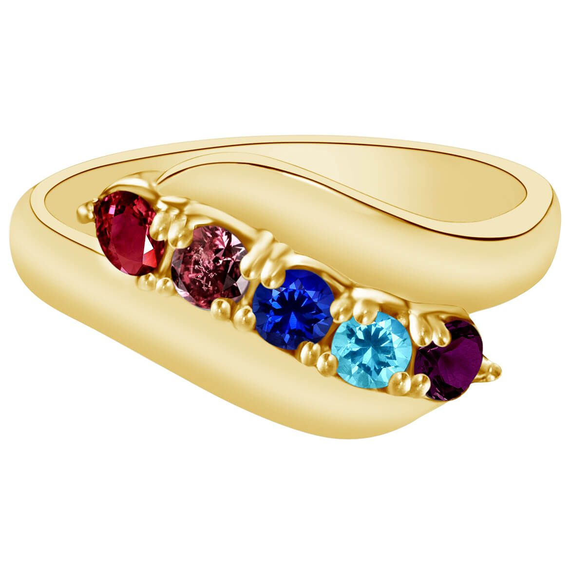 Birthstone Crystal Gold-Plated Bypass Ring - Miles Kimball-365551