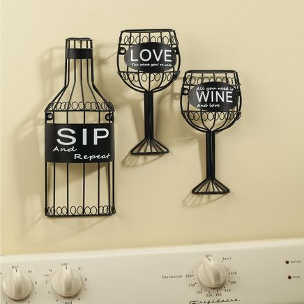 3-Pc. Sip, Wine and Love Wall Hanging Set by Home-Style Kitchen™-365647