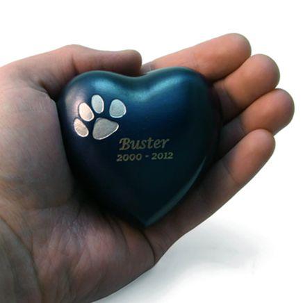 Personalized Brass Paw Print Heart Keepsake-365909
