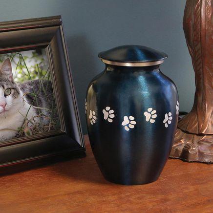 Personalized Blue Brass Paw Print Pet Urn-365911