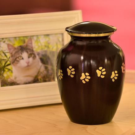 Personalized Brown Brass Paw Print Pet Urn-365912