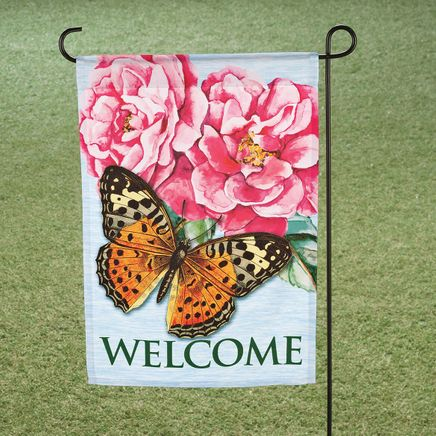 Welcome Butterfly & Peony Garden Flag-365943