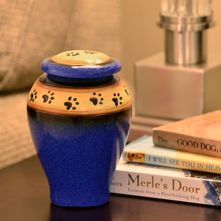 Personalized Blue Ceramic Paw Print Pet Urn-366096