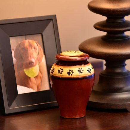 Personalized Red Ceramic Paw Print Pet Urn-366097