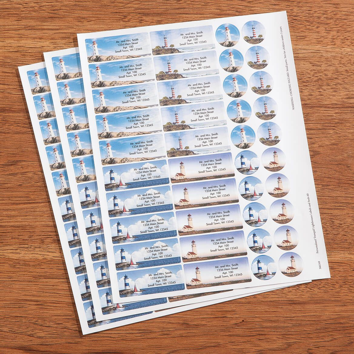 Personalized Tranquil Lighthouses Labels and Envelope Seals 60-366169