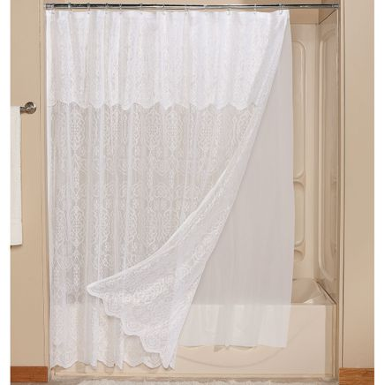 Lace Shower Curtain with Liner-366374
