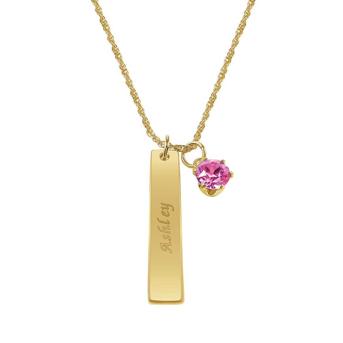 Personalized Ladies ID Pendant with Birthstone Charm-366410