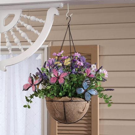 Mini Fully Assembled Butterflies & Floral Hanging Basket-366626