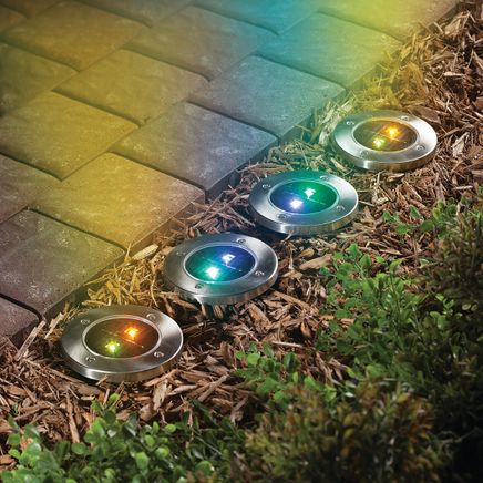 Color Changing In-Ground Solar Lights, Set of 4-366640