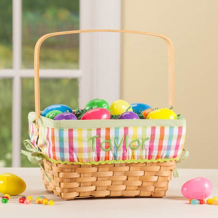 Personalized Plaid Wicker Easter Basket-366645