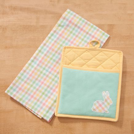 Pocket Mitt & Tea Towel Set Bunny Applique Yellow-366702