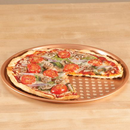 "12.5"" Ceramic Copper Pizza Pans, Set of 2-367112"