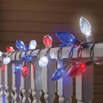 Red, White & Blue LED Tinsel Lights-367350
