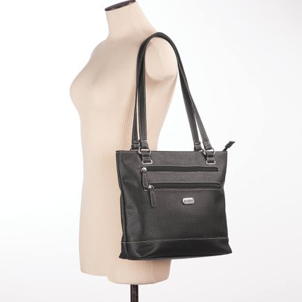 B.Amici™ Elisa RFID Black Leather Tote-367447