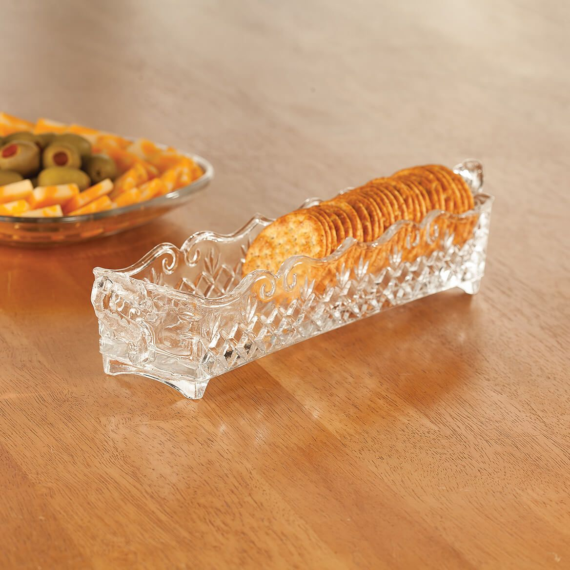 William Roberts Vintage Glass Cracker & Relish Trays, Set of 2-367561