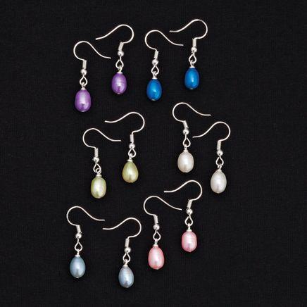 Genuine Fresh Water Pearl Earrings, 6 Pairs-367595