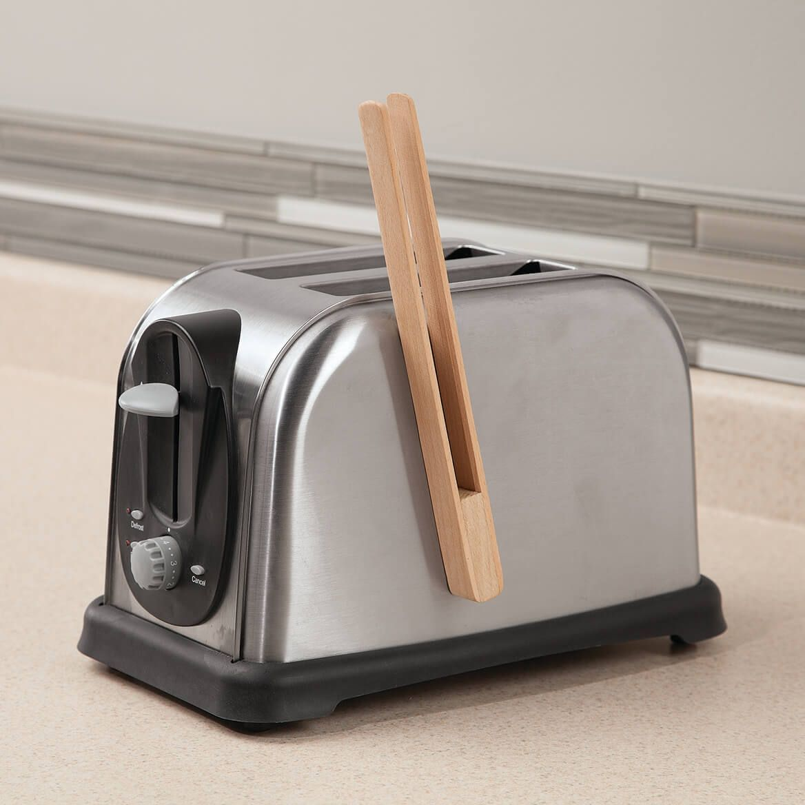 Wood Toaster Tongs with Magnet-367916