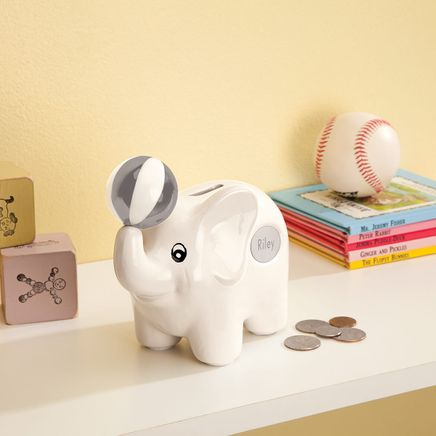 Personalized Ceramic White Elephant Bank-368060