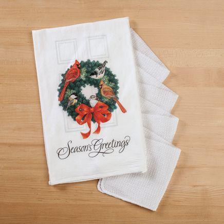 Holiday Wreath Flour Sack Towel with Bonus 4-Pc. Utility Cloths-368065
