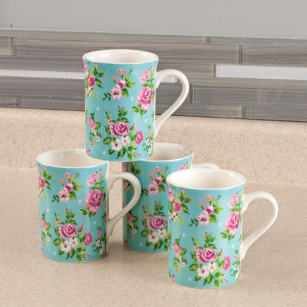 Rose Chintz Porcelain Mugs, Set of 4-368080