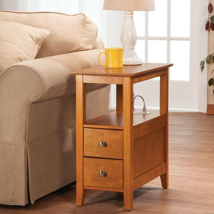 2-Drawer Side Table with Charging Station-368127