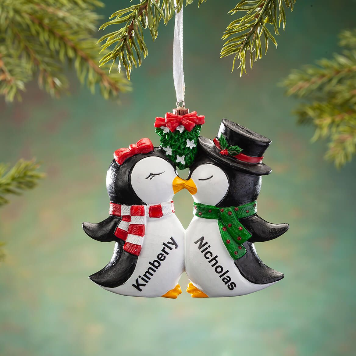 Personalized Kissing Penguins Ornament-368173