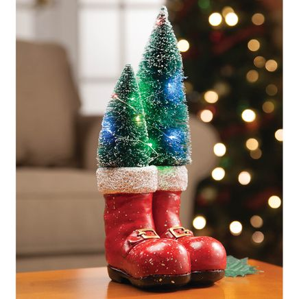 Resin Santa Boots with Lighted Trees by Holiday Peak™-368208