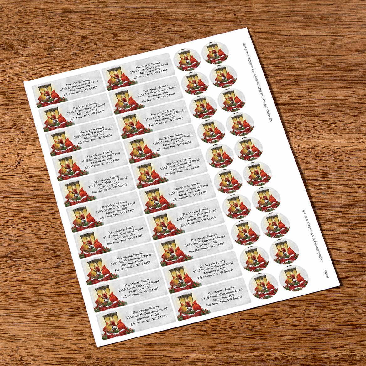 Personalized Cardinals Greeting Labels & Envelope Seals 20-368265