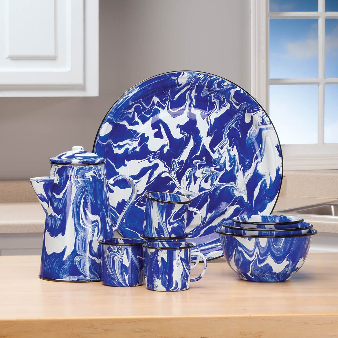 Blue Marble Enamelware Set of 4 Mugs by Home Marketplace-368311