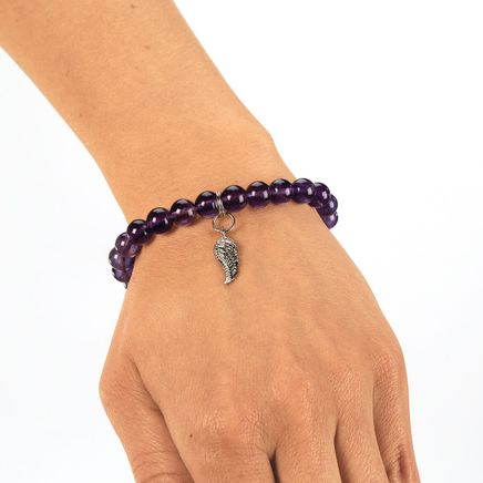 Amethyst and Angel Wing Stretch Bracelet-368332