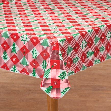 Vintage Holiday Tree Vinyl Table Cover by Chef's Pride-368353