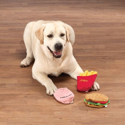 Stuffing Free Hamburger, Fries and Shake Dog Toys-368713