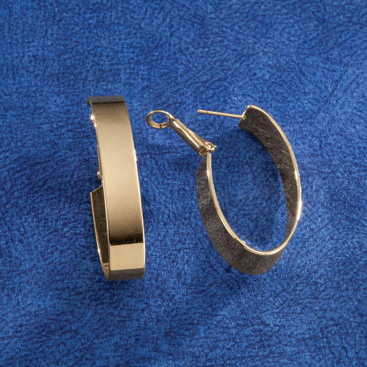 Polished Oval Hoop Hinged Earrings-368893