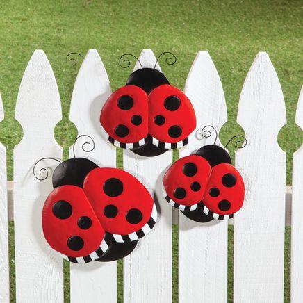 Metal Ladybug Hangers, Set of 3-369031